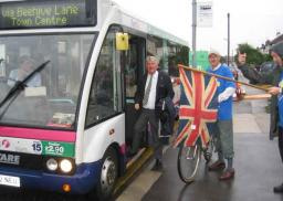 Cycle Group member Ian Wilkes sends cyclist and bus user on their way