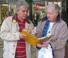 Cllr Mike Mackrory signs up a local resident to back a Greener Chelmsford