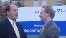 Stephen Robinson and Simon Hughes outside Broomfield hospital
