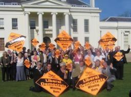 Group of Lib Dem candidates outside Hylands House