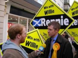 New Lib Dem MP Willie Rennie on the campaign trail