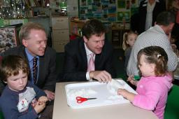 Stephen Robinson & Nick Clegg helping pupils to make bread