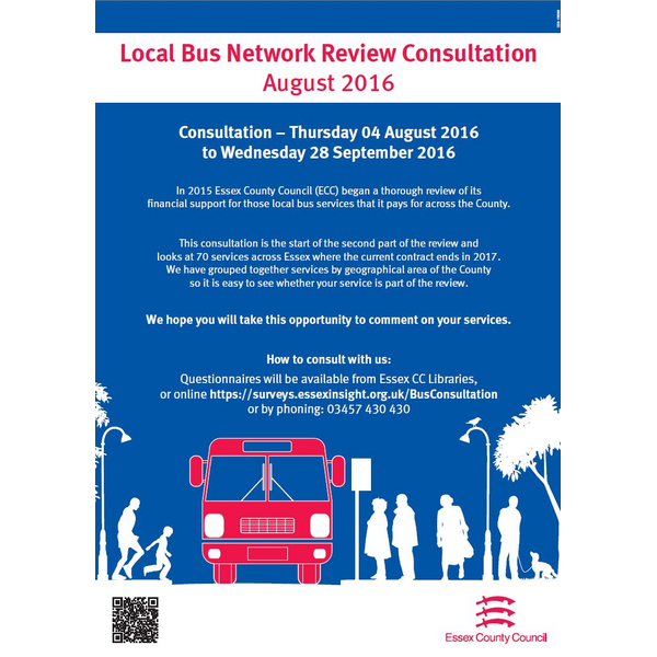 Bus consultation poster. Thursday 4 August to Wednesday 28 September