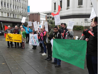 LD councillors and young people protesting outside County Hall, Chelmsford