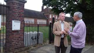 Stephen Robinson and Chris Davidson outside the former Rainsford High School site