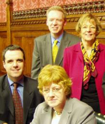 Stephen with MPs at Parliament meeting