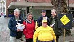 Lib Dem team were handing out leaflets in town centre