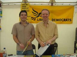 Stephen Robinson and Neville Booth collect Scrap Tuition Fees petition signatures