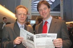 Stephen Robinson discusses the results of his NHS survey with Lib Dem leader Nick Clegg