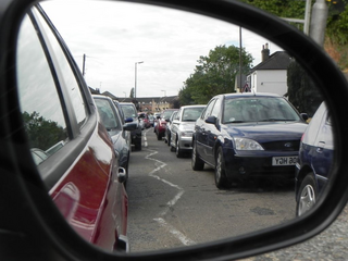 Graham Pooley traffic congestion viewed from wing mirror