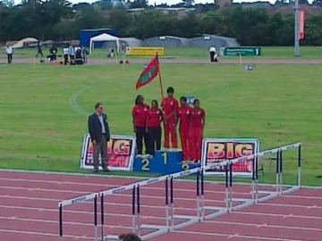 The Maldives Olympic Team are presented to the crowd at Bedford International Athletics Stadium after arriving in Bedford for their pre-games training camp