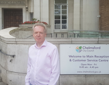 Stephen Robinson outside Chelmsford City Council