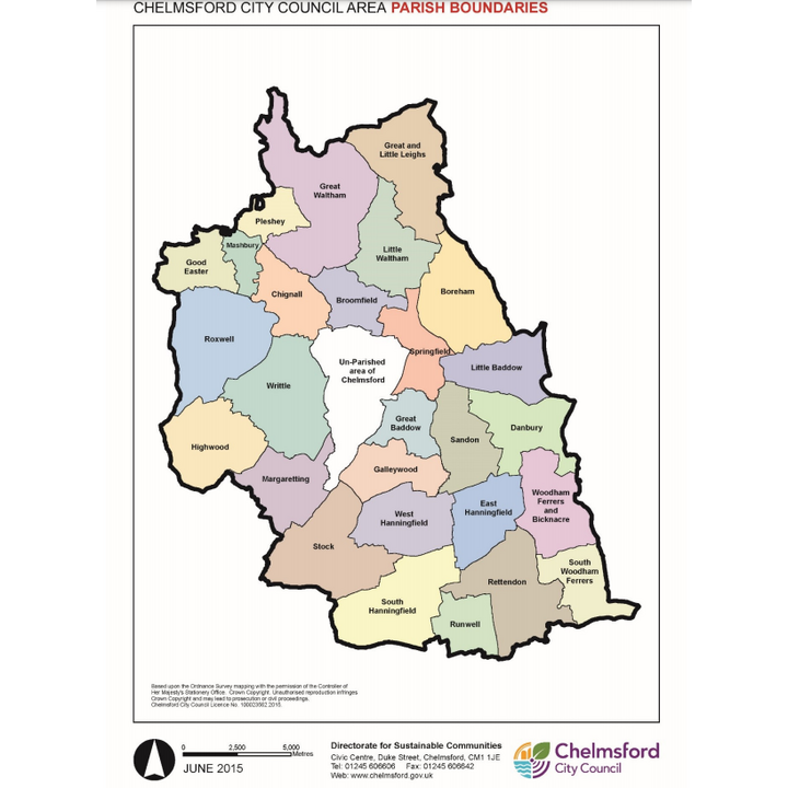 Map of parishes in Chelmsford district (Chelmsford City Council)